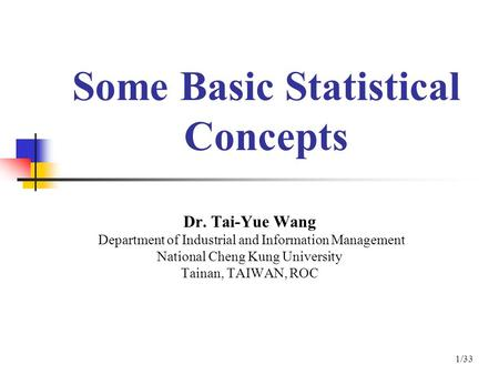 Some Basic Statistical Concepts