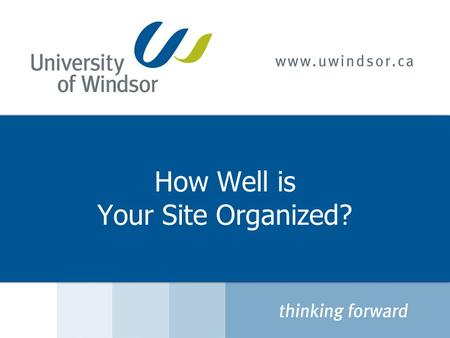 How Well is Your Site Organized?. Agenda  Information Architecture / Navigation  What Does the User Want?  How to Organize Information  Best Practices.