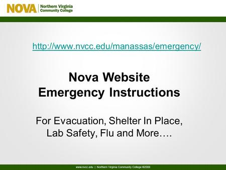 Nova Website Emergency Instructions For Evacuation, Shelter In Place, Lab Safety, Flu and More….