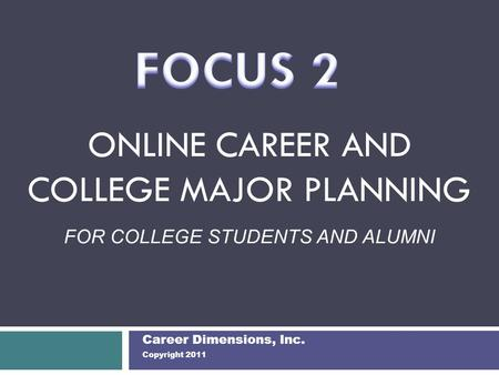 ONLINE CAREER AND COLLEGE MAJOR PLANNING FOR COLLEGE STUDENTS AND ALUMNI Career Dimensions, Inc. Copyright 2011.