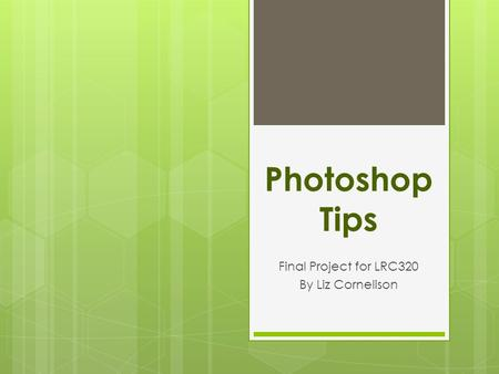 Photoshop Tips Final Project for LRC320 By Liz Cornelison.
