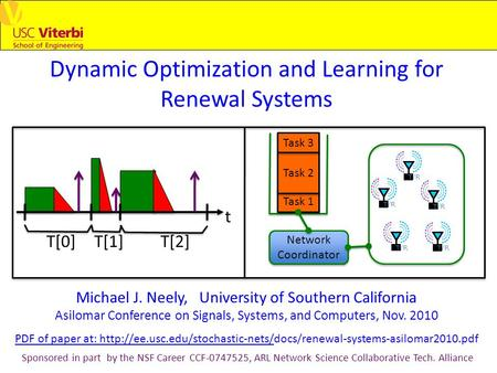 Dynamic Optimization and Learning for Renewal Systems Michael J. Neely, University of Southern California Asilomar Conference on Signals, Systems, and.