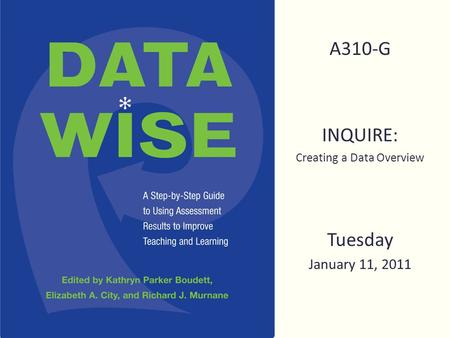 A310-G INQUIRE: Creating a Data Overview Tuesday January 11, 2011.