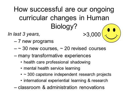 How successful are our ongoing curricular changes in Human Biology? In last 3 years, –7 new programs –~ 30 new courses, ~ 20 revised courses –many transformative.