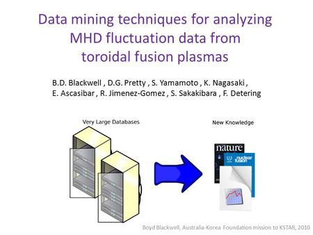 Data mining techniques for analyzing MHD fluctuation data from toroidal fusion plasmas ) B.D. Blackwell, D.G. Pretty, S. Yamamoto, K. Nagasaki, E. Ascasibar,