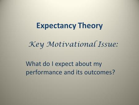Expectancy Theory Key Motivational Issue: What do I expect about my performance and its outcomes?
