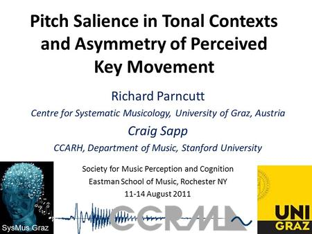 Pitch Salience in Tonal Contexts and Asymmetry of Perceived Key Movement Richard Parncutt Centre for Systematic Musicology, University of Graz, Austria.