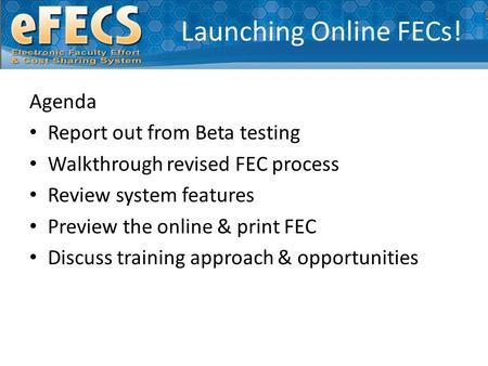Launching Online FECs! Agenda Report out from Beta testing Walkthrough revised FEC process Review system features Preview the online & print FEC Discuss.