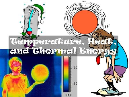 Temperature, Heat, and Thermal Energy. Heat The transfer of thermal energy Not a measure of energy but rather of energy transferred. Measured in terms.