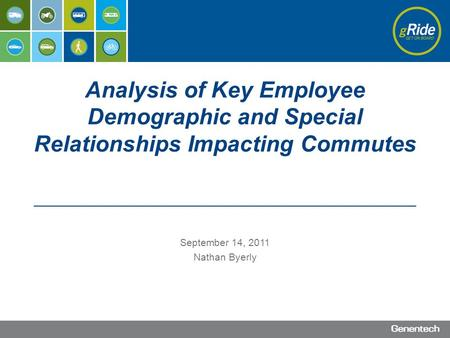 September 14, 2011 Nathan Byerly Analysis of Key Employee Demographic and Special Relationships Impacting Commutes.
