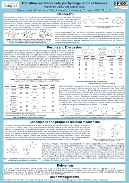 2 Transition metal-free catalytic hydrogenation of ketones Katherine Jolley and Martin Wills Department of Chemistry, The University of Warwick, Coventry,