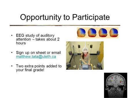 Opportunity to Participate EEG study of auditory attention – takes about 2 hours Sign up on sheet or