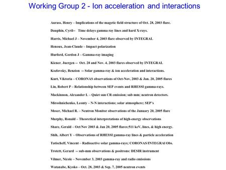 Working Group 2 - Ion acceleration and interactions.