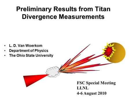 Preliminary Results from Titan Divergence Measurements L. D. Van Woerkom Department of Physics The Ohio State University FSC Special Meeting LLNL 4-6 August.
