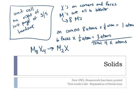 Solids New OWL Homework has been posted This week's lab- Separation of Metal Ions.