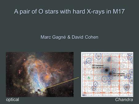 A pair of O stars with hard X-rays in M17 Marc Gagné & David Cohen Chandra optical.