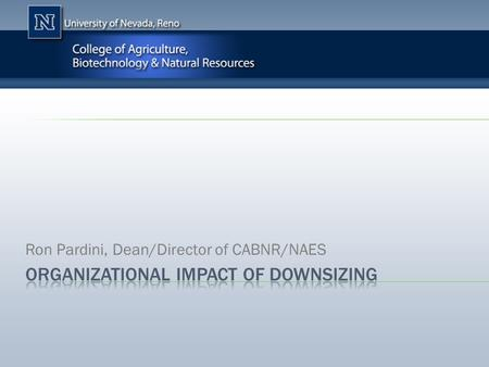 Ron Pardini, Dean/Director of CABNR/NAES. Positions Eliminated:  Associate Director of Nevada Ag Experiment Station  Assistant Director of Nevada Ag.