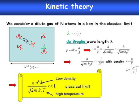 We consider a dilute gas of N atoms in a box in the classical limit Kinetic theory de Broglie de Broglie wave length with density classical limit high.