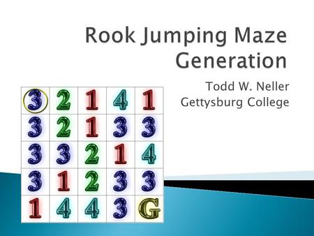 Todd W. Neller Gettysburg College.  Specification: grid size, start state (square), goal state, jump numbers for each non- goal state.  Jump number: