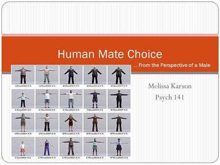 Melissa Karson Psych 141 Human Mate Choice … From the Perspective of a Male.
