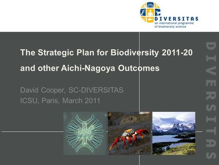The Strategic Plan for Biodiversity 2011-20 and other Aichi-Nagoya Outcomes David Cooper, SC-DIVERSITAS ICSU, Paris, March 2011.