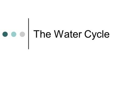 The Water Cycle. The water cycle describes the existence and movement of water on, in, and above the Earth. Earth's water is always in movement and is.
