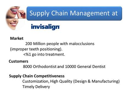 Supply Chain Management at Market 200 Million people with malocclusions (improper teeth positioning). <%1 go into treatment. Customers 8000 Orthodontist.