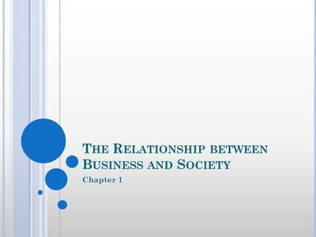 T HE R ELATIONSHIP BETWEEN B USINESS AND S OCIETY Chapter 1.