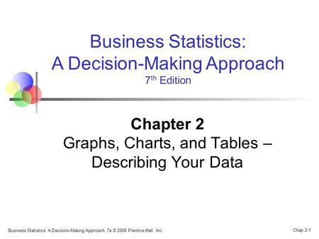 Business Statistics: A Decision-Making Approach, 7e © 2008 Prentice-Hall, Inc. Chap 2-1 Business Statistics: A Decision-Making Approach 7 th Edition Chapter.