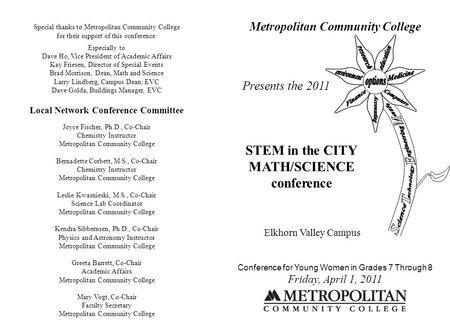 Metropolitan Community College Presents the 2011 STEM in the CITY MATH/SCIENCE conference Elkhorn Valley Campus Conference for Young Women in Grades 7.