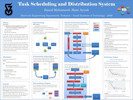 Task Scheduling and Distribution System Saeed Mahameed, Hani Ayoub Electrical Engineering Department, Technion – Israel Institute of Technology - 2009.