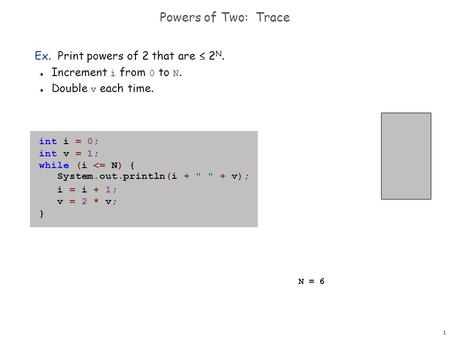 1 Powers of Two: Trace Ex. Print powers of 2 that are  2 N. Increment i from 0 to N. Double v each time. int i = 0; int v = 1; while (i <= N) { System.out.println(i.