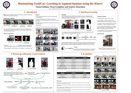 1. Introduction Humanising GrabCut: Learning to segment humans using the Kinect Varun Gulshan, Victor Lempitksy and Andrew Zisserman Dept. of Engineering.