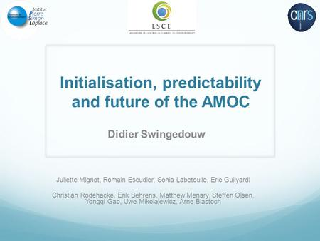 Initialisation, predictability and future of the AMOC Didier Swingedouw Juliette Mignot, Romain Escudier, Sonia Labetoulle, Eric Guilyardi Christian Rodehacke,