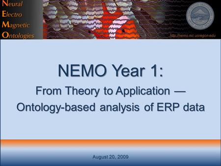 August 20, 2009 NEMO Year 1: From Theory to Application — Ontology-based analysis of ERP data