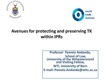 Avenues for protecting and preserving TK within IPRs Professor Pamela Andanda, School of Law, University of the Witwatersrand and Visiting Fellow, WTI,
