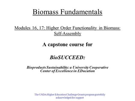 A capstone course for BioSUCCEED: