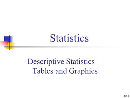 1/54 Statistics Descriptive Statistics— Tables and Graphics.