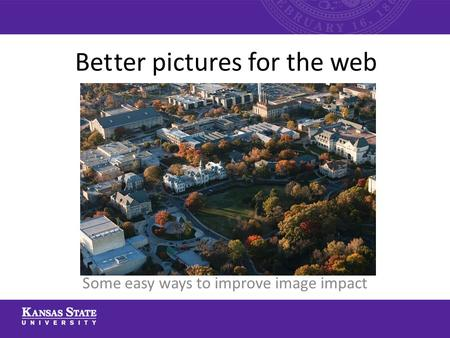 Bet ter pictures for the web Some easy ways to improve image impact.
