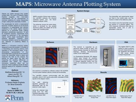 MAPS : Microwave Antenna Plotting System Abstract Objects are visible because they scatter incident light. The work of Professor Nader Engheta suggests.