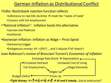 "German Inflation as Distributional Conflict Tullio: Reichsbank reaction function reflects Adherence to real bills doctrine  meet the ""needs of trade"""
