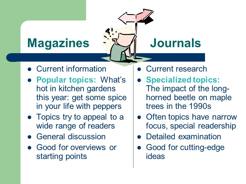 MagazinesJournals Current information Popular topics: Whats hot in kitchen gardens this year: get some spice in your life with peppers Topics try to appeal to a wide range of readers General discussion Good for overviews or starting points Current research Specialized topics: The impact of the long- horned beetle on maple trees in the 1990s Often topics have narrow focus, special readership Detailed examination Good for cutting-edge ideas