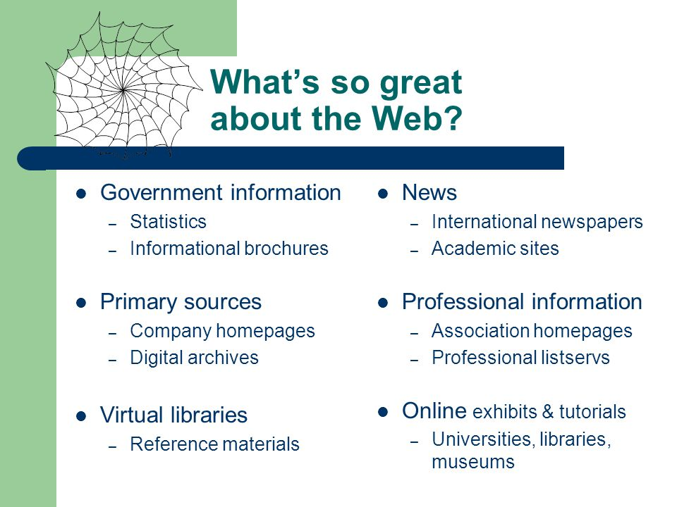 Whats so great about the Web.
