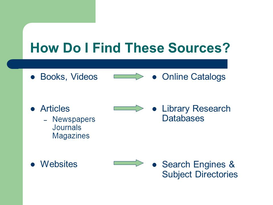 How Do I Find These Sources.