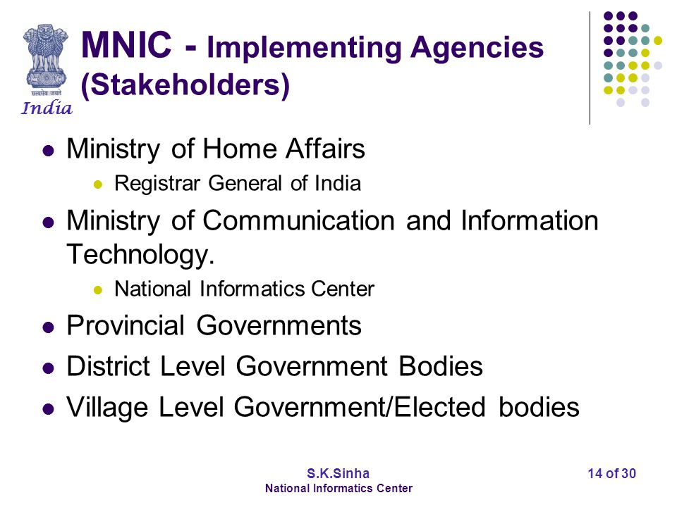India S.K.Sinha National Informatics Center 15 of 30 MNIC Scope of Pilot Project Volume - 3 Million 22 selected sub-districts of 13 provinces.