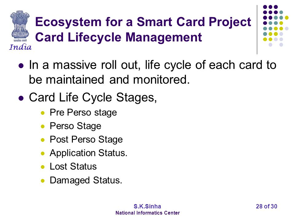 India S.K.Sinha National Informatics Center 29 of 30 Ecosystem for a Smart Card Project Role of Government Evolving and standardizing Technology Standards (e.g.
