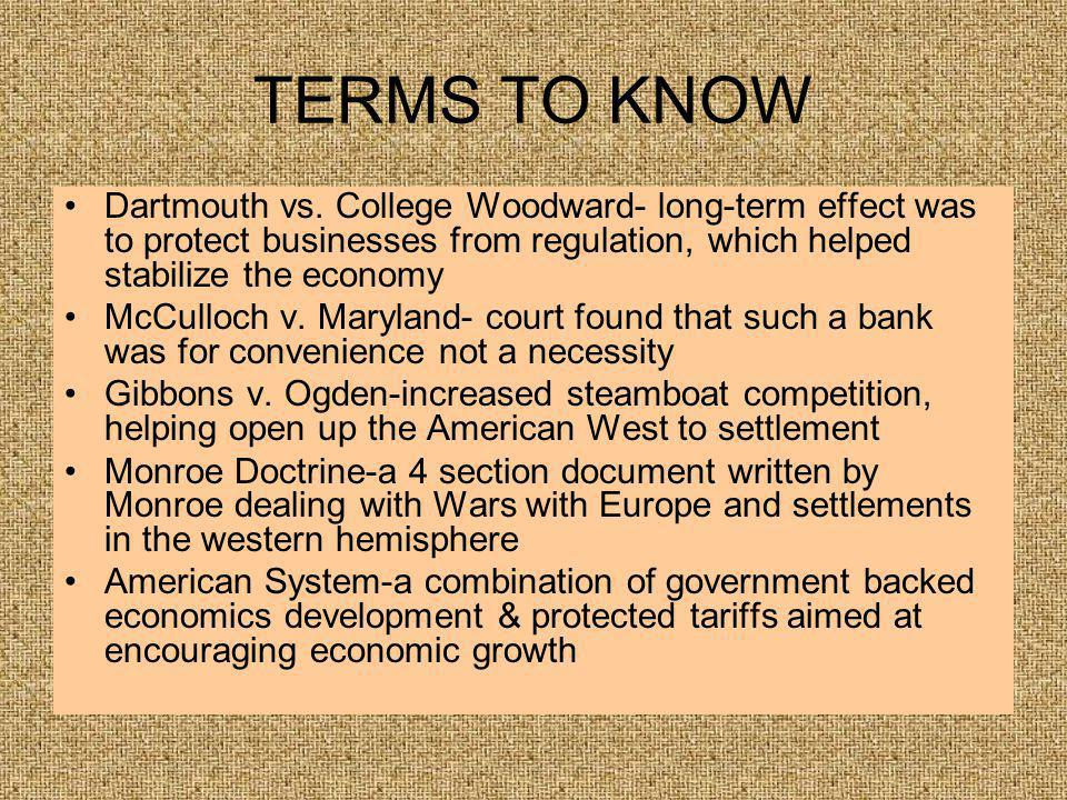 TERMS TO KNOW Dartmouth vs.