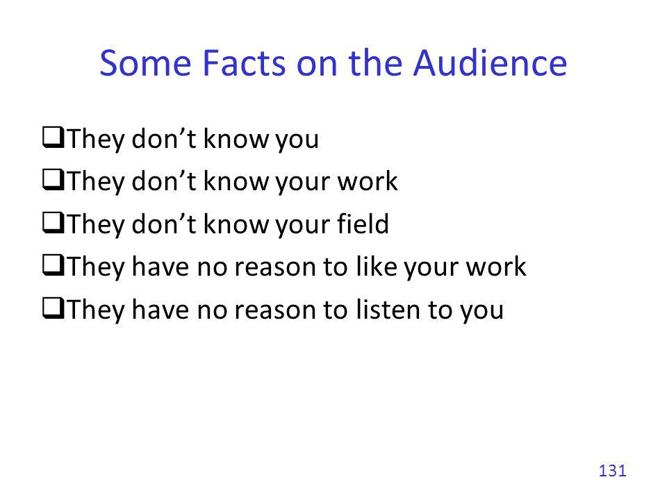 Some Facts on the Audience They have already ingested boring presentations They are laptop addicts They are reading their emails, browsing the web, reading online newspapers, skyping, etc.