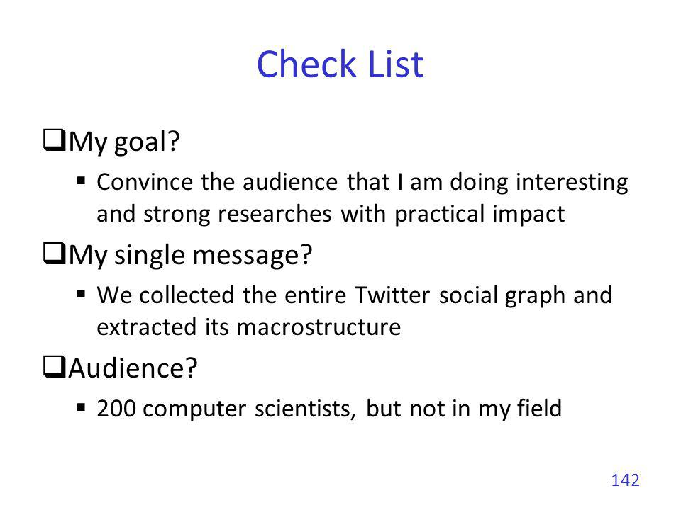 Check List Duration.20 minutes for the talk Room characteristics.