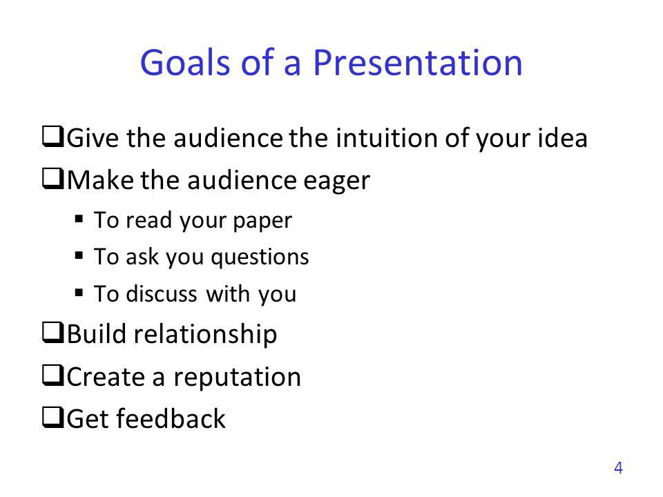 Goals of a Presentation Show you can make great presentations Big plus in a career Conversely, a poor presentation can kill an application to a new position 5 Each talk is an interview talk